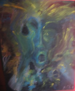 Acrylic mixed media pumice gel painting 1996 canvasboard