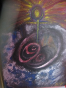 Spirituality, acrylic and sand on canvasboard 1996