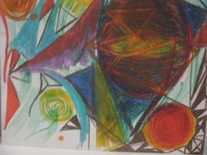 Abstract oil pastel drawing 99